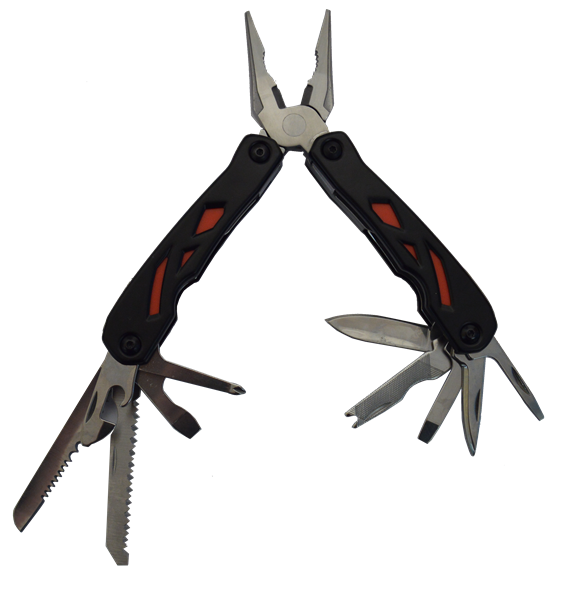 CM648 - FLASH TOOL MULTI TOOL IN BLACK and RED open